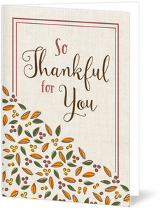 Rustic Thankful for You Thanksgiving Card