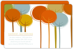Sketch Harvest Trees Thanksgiving Invitation