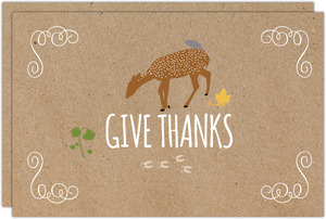 Sweet Deer Give Thanks Thanksgiving Card