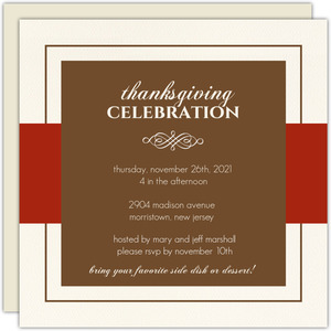 Simple Classy Red and Brown Thanksgiving Invitation