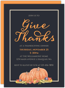 Give Thanks Modern Thanksgiving Invitation
