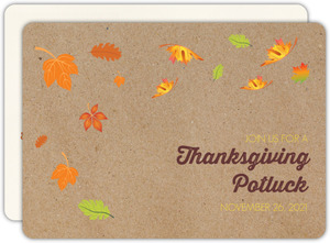 Colorful Autumn Leaves Thanksgiving Invitation