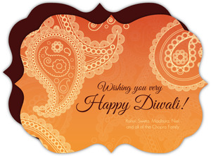 Elegant Orange Paisley Diwali Greeting Card
