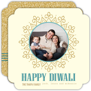 Faux Glitter Stripes And Circles Green Photo Diwali Greeting Card
