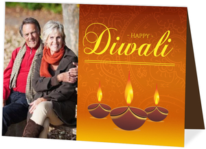 Orange Festive Lights Diwali Greeting Card