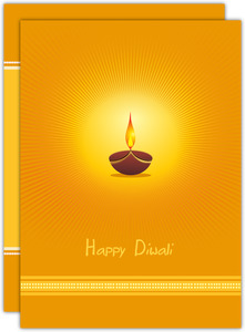 Orange Glow Diya Lamp Diwali Greeting Card