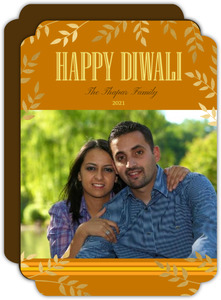 Golden Leaves Simple Photo Diwali Greeting Card