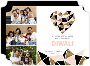 Three Photo Modern Heart Diwali Greeting Card