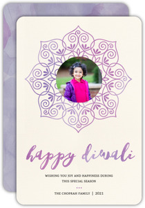 Elegant Watercolor Diwali Greeting Card