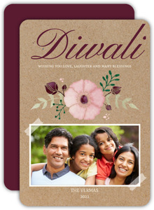 Beautiful Floral Diwali Greeting Card