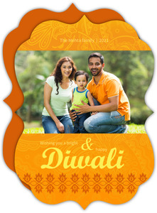Mehndi Yellow Elegant Diwali Photo Greeting Card