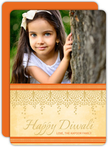 Orange Floral Sprinkles Diwali Greeting Card