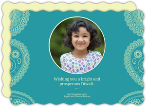 Simple Light Blue Paisley Diwali Photo Card
