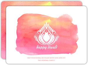 Pink Lotus Watercolor Diwali Greeting Card