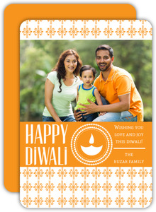 Orange Ornate Patterned Photo Diwali Card