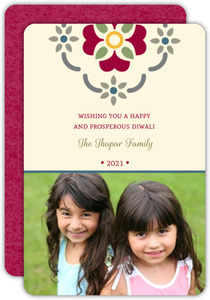Cute Floral Imprint Photo Diwali Card