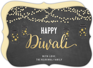 Glowing Earthen Lamps Diwali Greeting Card