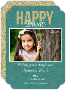 Fancy Faux Glitter Floral Diwali Greeting Card