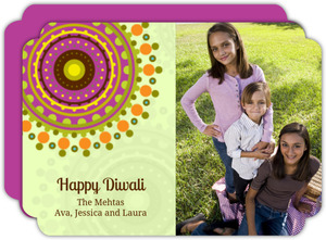 Fun and Bright Rangoli Photo Diwali Greeting Card