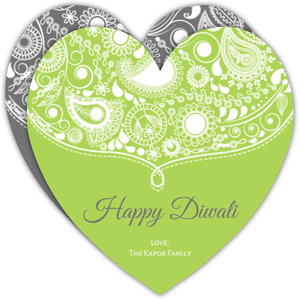 Green Paisley Lace Heart Diwali Card