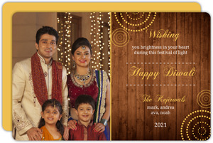Woodgrain Circles Multi Photo Diwali Card