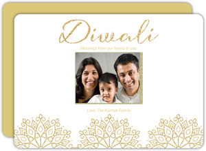 Ornate Gold Patterned Photo Diwali Card