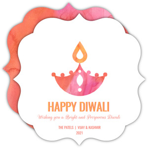 Watercolor Diwali Lights Greeting Card