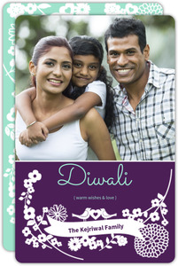 Purple and Green Floral Festive Diwali Card