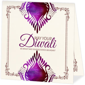 Watercolor Floral Typographic Happy Diwali Card