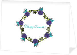 Floral Wreath Diwali Blessings Greeting Card