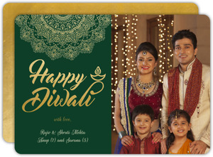 Green Ornate Diwali Greeting Card