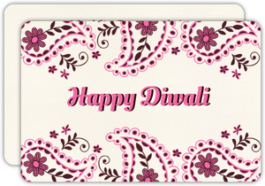 Cute Pink Paisley Happy Diwali Greetings
