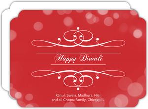 Red Dots Ornate Diwali Greeting Card