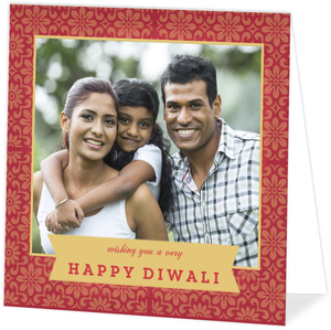 Gold and Red Floral Pattern Diwali Card
