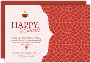Festive Lamp Red Pattern Diwali Card