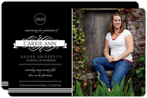 Formal Black Monogram Nursing School Graduation Announcement