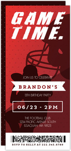 Game Time Red Ticket Football Party Invitation