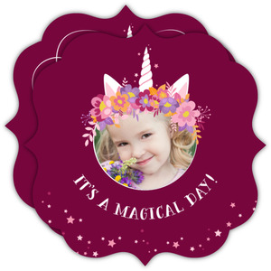 Magical Unicorn Flower Birthday Invitations