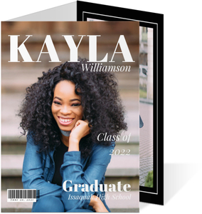 Modern Black & White Magazine Graduation Invitation