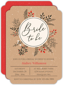 winter leaves wreath bridal shower invitation