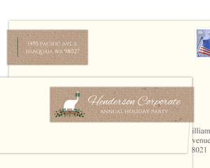 Winter Foliage White Elephant Envelope Label