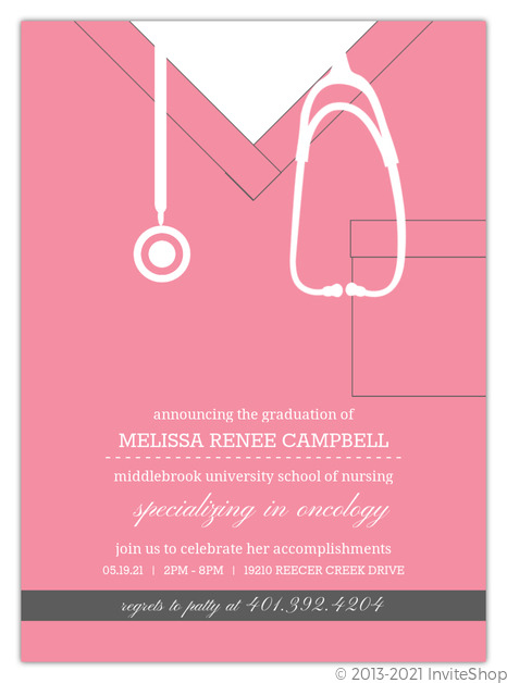 Pink Scrubs Nursing School Graduation Invitation Graduation