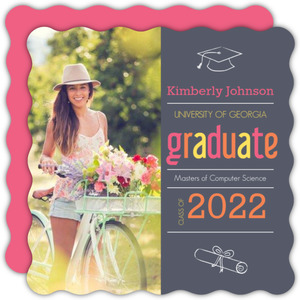 Gray Pink Graduate School Graduation Invitation