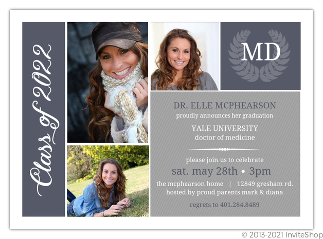 Blue gray monogram seal graduation invitation graduation announcements blue gray monogram seal graduation invitation filmwisefo