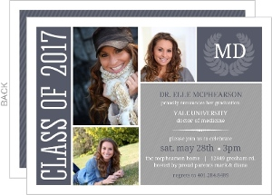 Blue Gray Monogram Seal Graduation Invitation