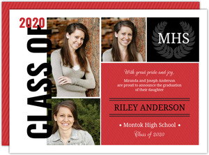 Cheap graduation announcements cheap graduation invitations black red school color monogram seal graduation announcement filmwisefo