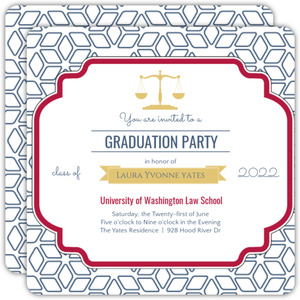 Red Navy Decorative Seal Graduation Invitation