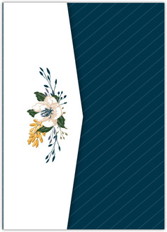 Modern Blue Floral Pocketfold Wedding Invitation