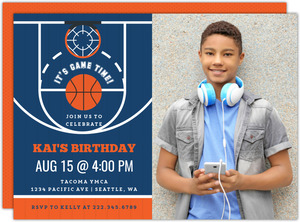 It's Game Time Basketball Birthday Invitation