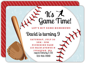 Baseball Game Time Birthday Invitation